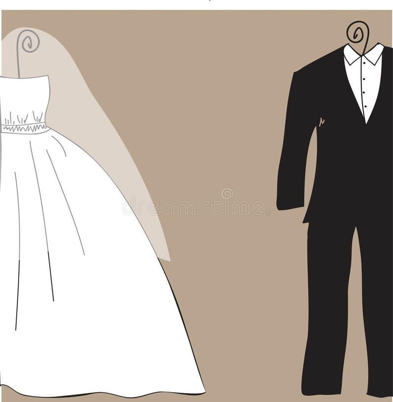 Tarjeta nupcial de la invitación de la ducha o de la boda con ropa de novia y del novio libre illustration