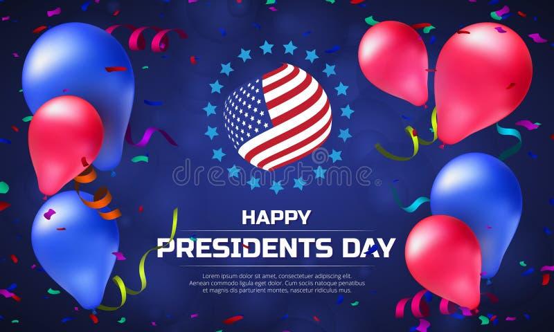 Tarjeta o bandera con la bandera rayada y globos de felicitación a presidentes felices Day Ejemplo del vector al día de fiesta am ilustración del vector