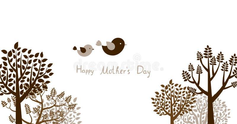 Tarjeta o bandera de felicitación con los árboles y los pájaros para el día del ` s de la madre libre illustration