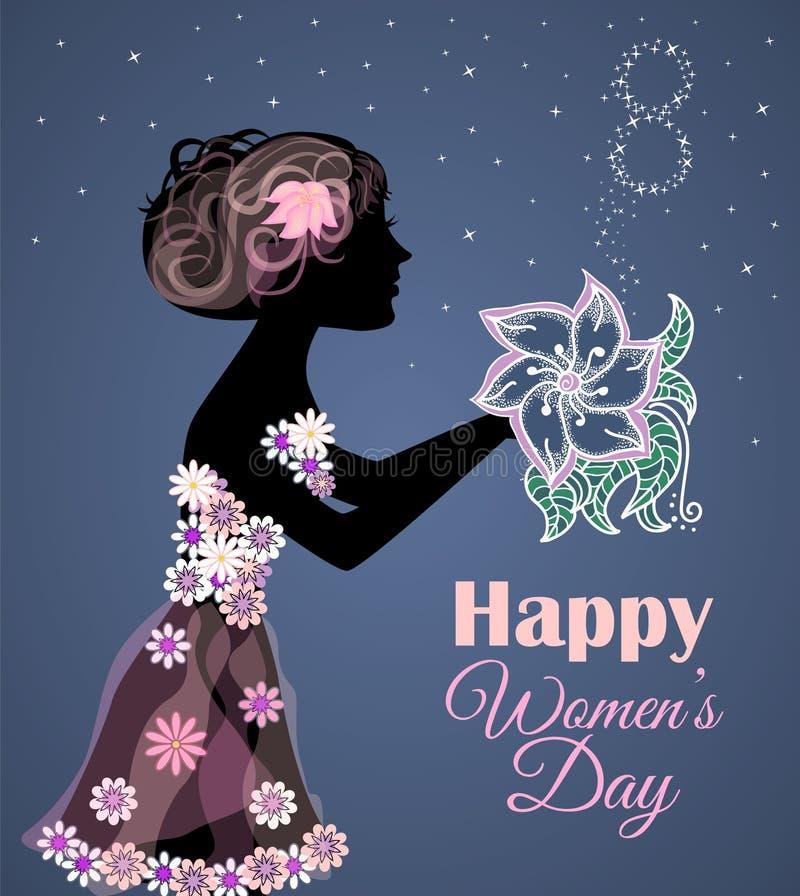 Tarjeta o bandera de felicitación del vector para el 8 de marzo Día de las mujeres felices Diseño para el día de las mujeres inte libre illustration
