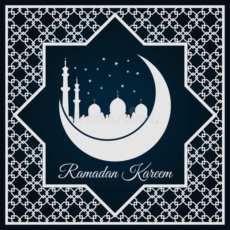 Tarjeta o bandera de felicitación de Ramadan Kareem con la silueta de la mezquita en la luna creciente y el ornamento árabe, mode libre illustration