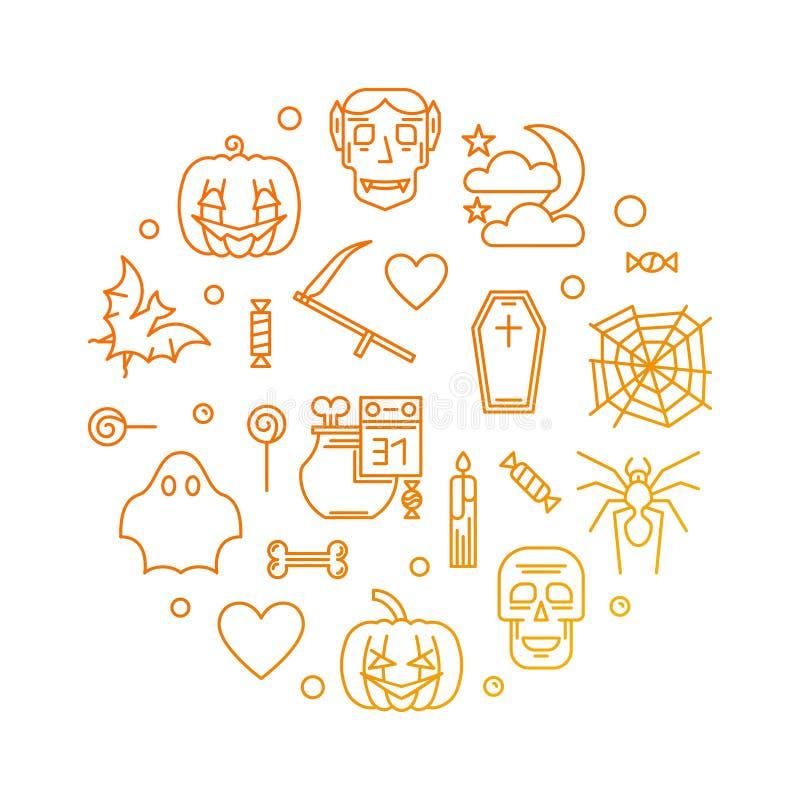 Tarjeta o cartel coloreada redonda de felicitación del vector del feliz Halloween ilustración del vector