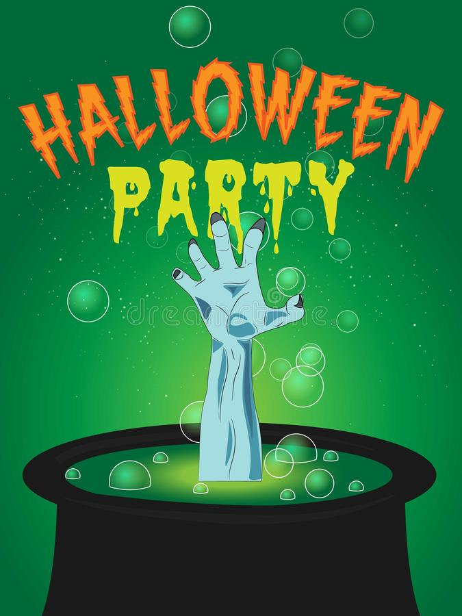 Tarjeta o cartel del diseño del partido de Halloween de la caldera del brazo del zombi ilustración del vector