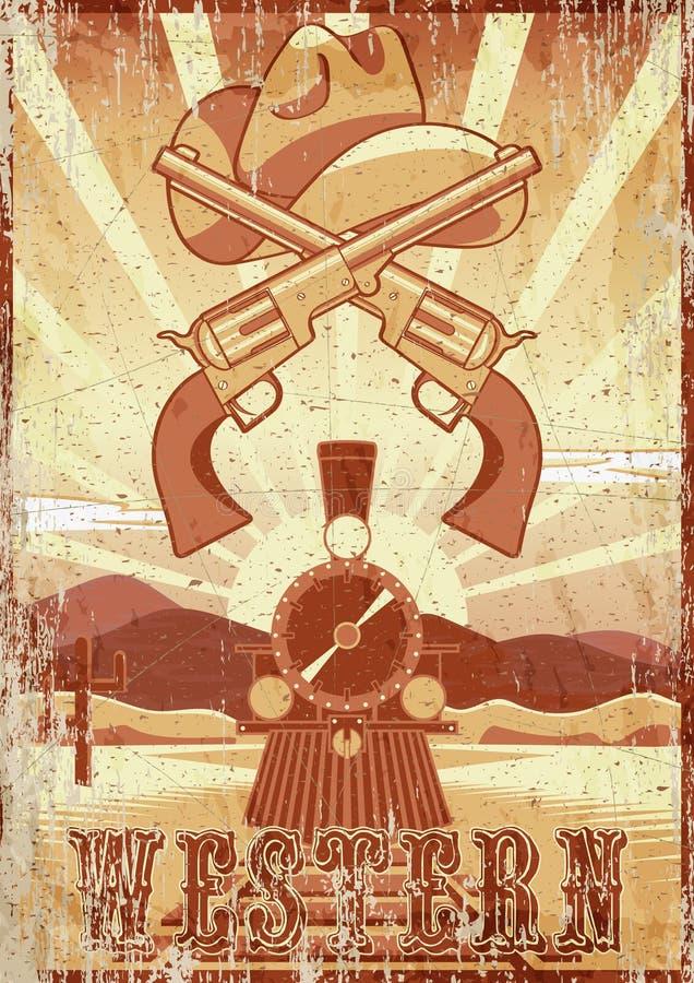 Tarjeta o cartel del vintage del grunge de la película occidental con paisaje del desierto, el tren, los armas y el sombrero libre illustration