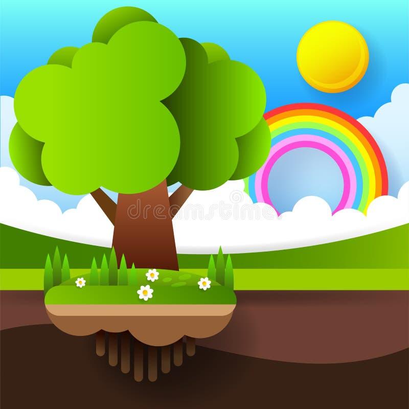 Tarjeta o fondo del d?a del ambiente mundial con el ?rbol y las hojas Vector libre illustration