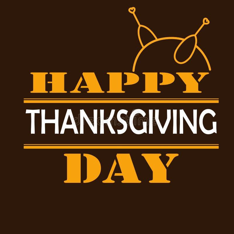 Tarjeta o fondo feliz del día de la acción de gracias con el pavo stock de ilustración