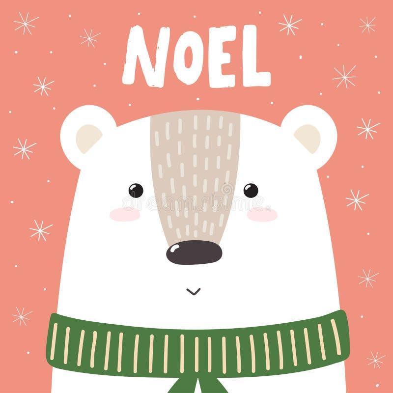 Tarjeta o impresión de felicitación de la Navidad con el oso lindo libre illustration