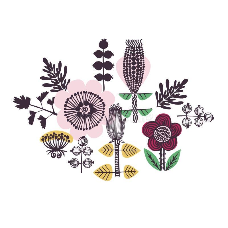 Tarjeta o impresión floral en estilo escandinavo Amarillo, rosa, rojo, verde ilustración del vector