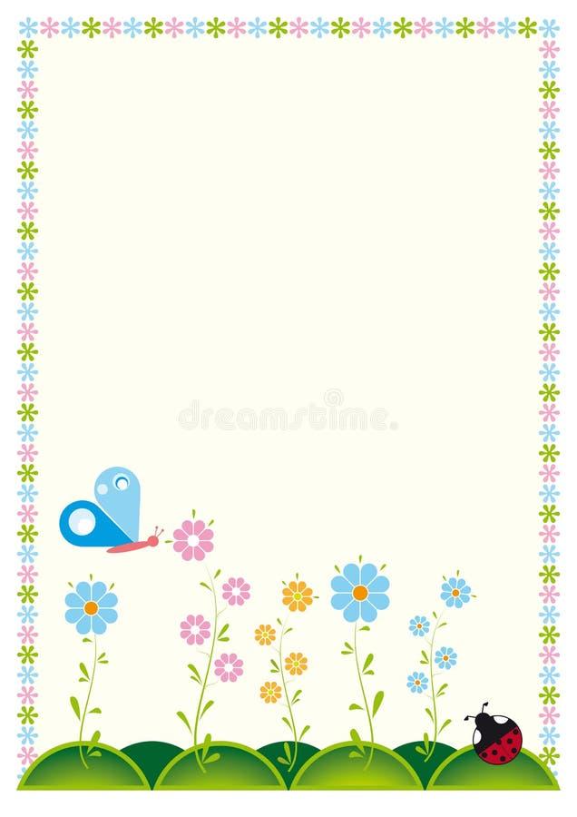 Tarjeta o invitación de felicitación con las flores libre illustration