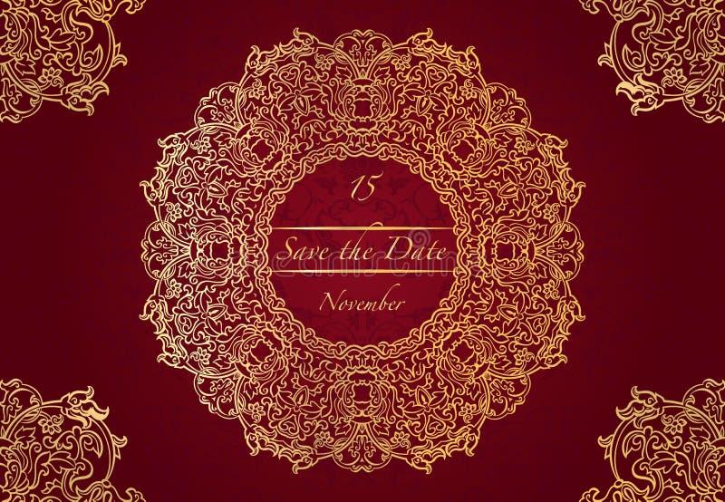 Tarjeta o invitación de la boda con el modelo de la mandala Vector los elementos redondos altamente detallados a mano de la manda libre illustration