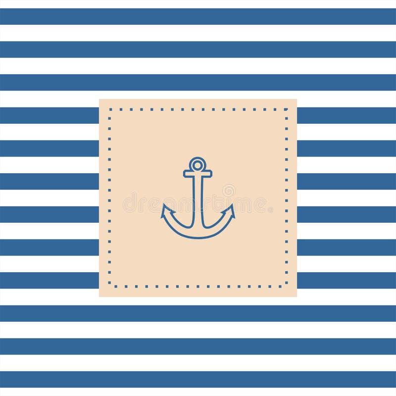 Tarjeta o invitación náutica del vector con el ancla stock de ilustración