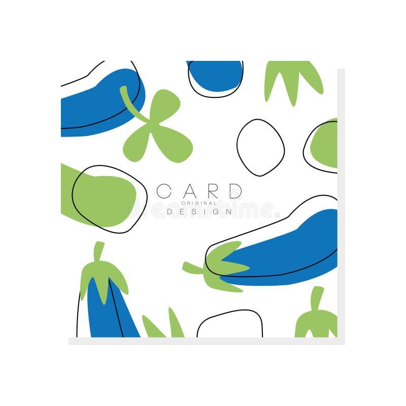 Tarjeta original con la berenjena Vehículo sano Concepto natural del alimento Diseño abstracto del vector para la publicidad de p stock de ilustración