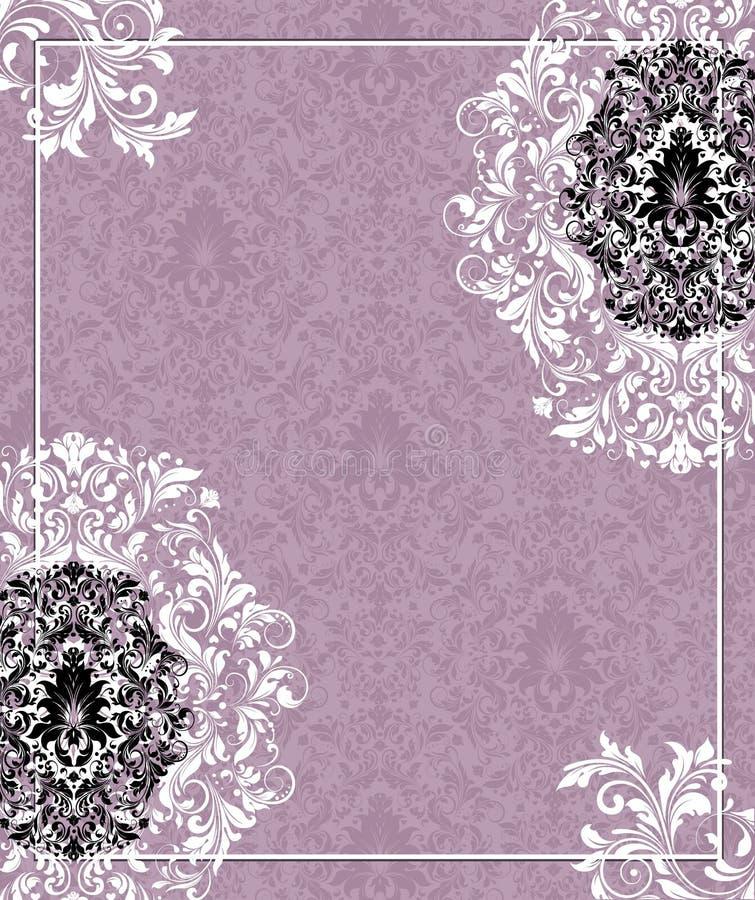 Tarjeta púrpura de la invitación de la boda del damasco libre illustration