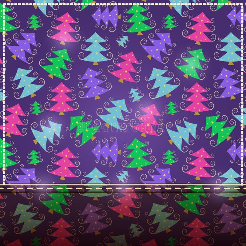 Tarjeta púrpura de la Navidad con el lugar para el texto ilustración del vector