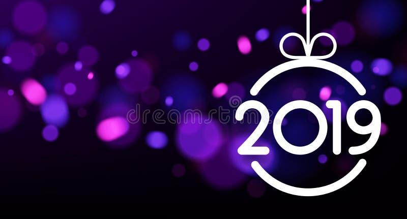 Tarjeta púrpura del Año Nuevo del extracto 2019 con la bola de la Navidad libre illustration