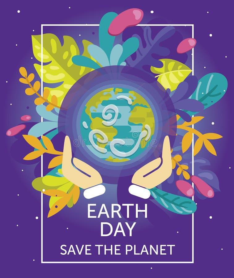 Tarjeta Para El Día De La Tierra Con Nuestro Planeta En Marco Floral ...