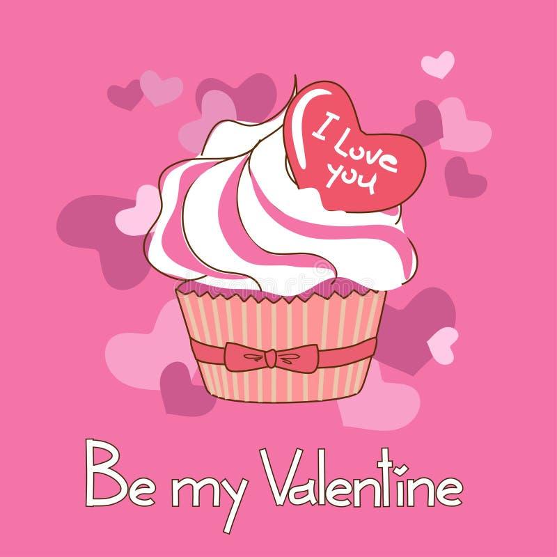 Tarjeta para el día de tarjeta del día de San Valentín con la magdalena ilustración del vector