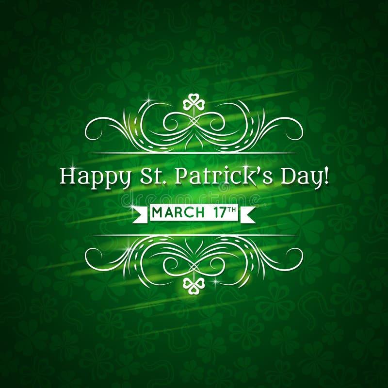 Tarjeta para el día del St. Patricks con el texto y mucho shamr stock de ilustración