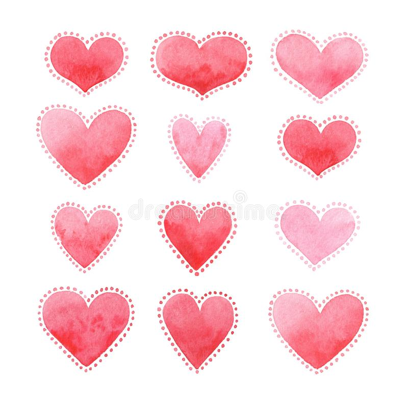 Tarjeta para el d?a del ` s de la tarjeta del d?a de San Valent?n, acuarela, amor fotos de archivo