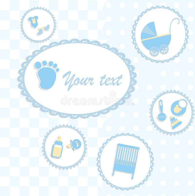 Tarjeta para el muchacho recién nacido ilustración del vector