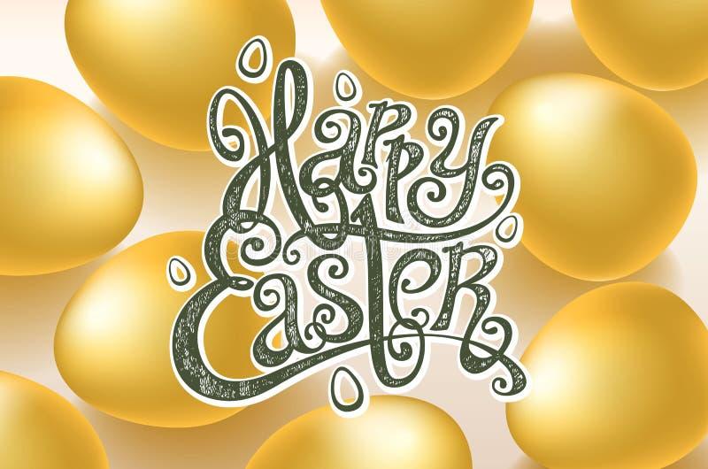 Tarjeta para la frase escrita mano de la enhorabuena Las plantillas del texto de la tarjeta de felicitación con oro eggs el fondo stock de ilustración