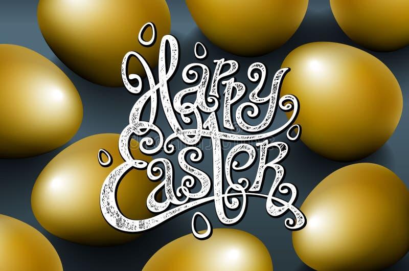 Tarjeta para la frase escrita mano de la enhorabuena Las plantillas del texto de la tarjeta de felicitación con oro eggs el fondo ilustración del vector