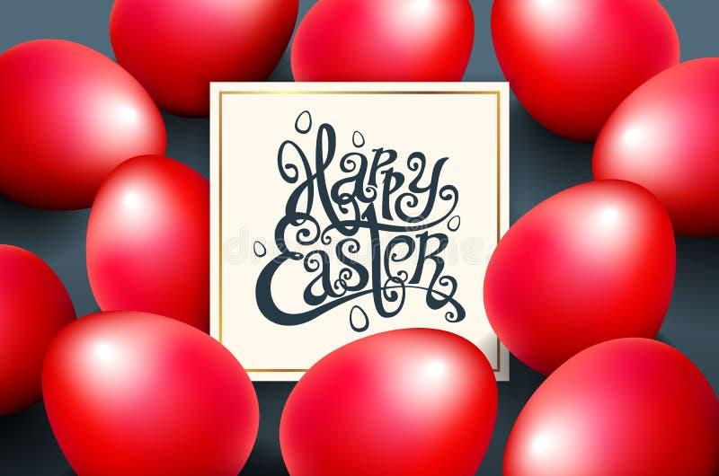 Tarjeta para la frase escrita mano de la enhorabuena Las plantillas del texto de la tarjeta de felicitación con rojo eggs el fond libre illustration