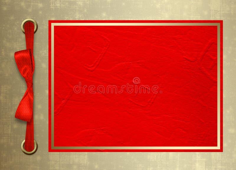 Tarjeta para la invitación con el marco del oro y BO roja stock de ilustración