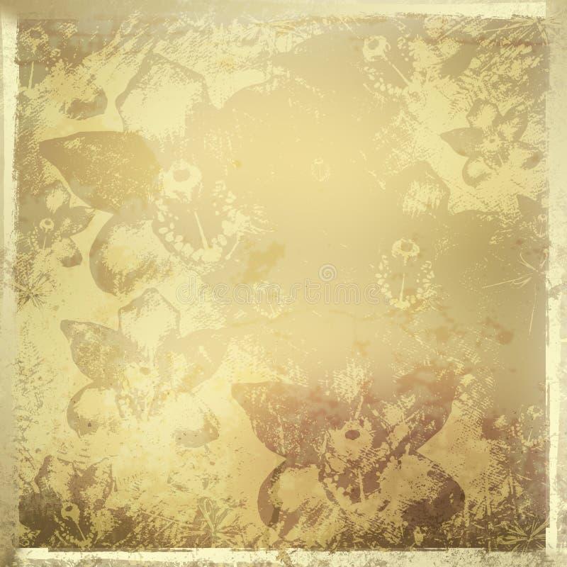 Tarjeta para la invitación con las orquídeas del oro stock de ilustración