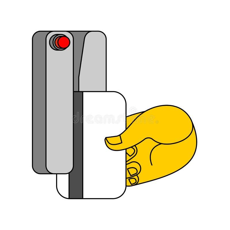 Tarjeta para la puerta y la mano de abertura Clave electrónico Illustrat del vector libre illustration