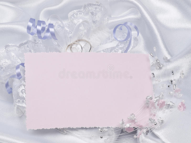 Tarjeta para los accesorios del texto y de las bodas fotos de archivo