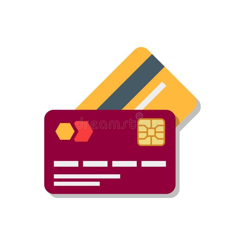 Tarjeta plástica de las actividades bancarias o del debe con la sombra aislada en el fondo blanco ilustración del vector