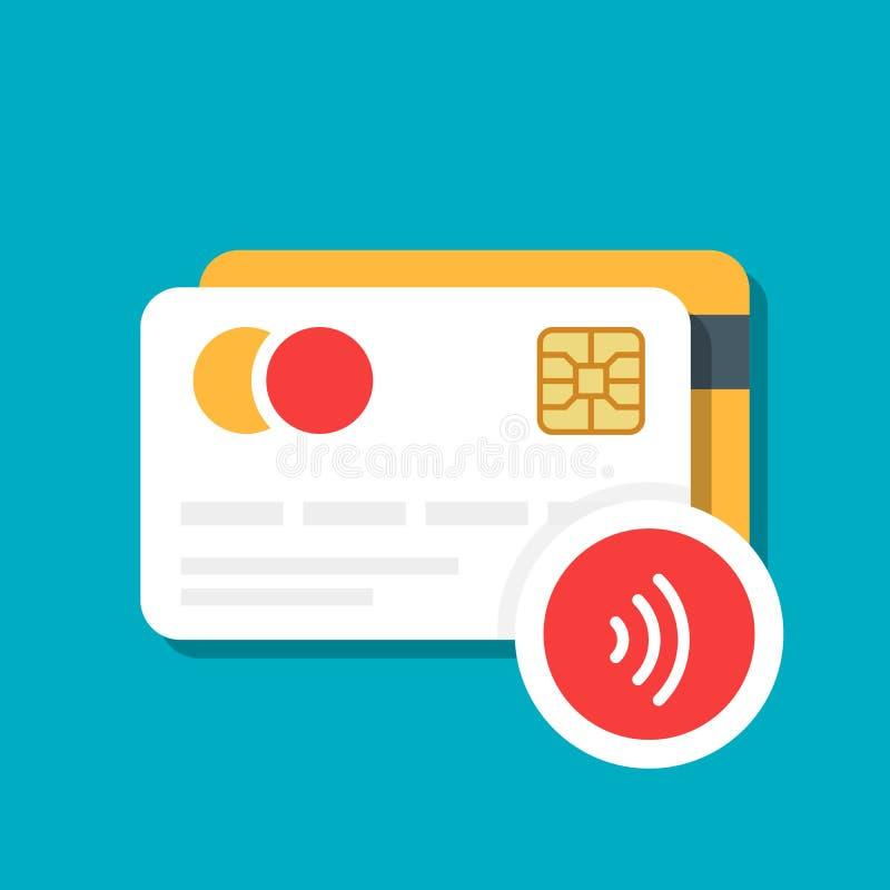 Tarjeta plástica del banco o de crédito con un icono inalámbrico del pago Comercio electrónico Ejemplo del vector aislado en fond libre illustration