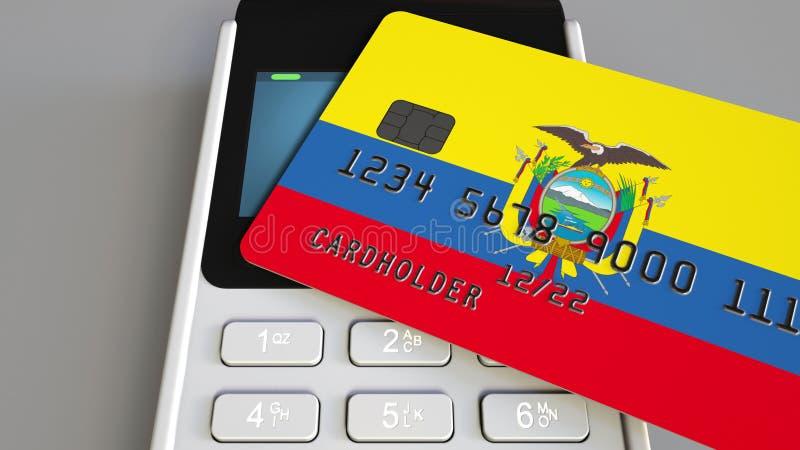 Tarjeta plástica que ofrece la bandera de Ecuador y del terminal del pago de la posición Sistema bancario ecuatoriano o 3D relaci ilustración del vector
