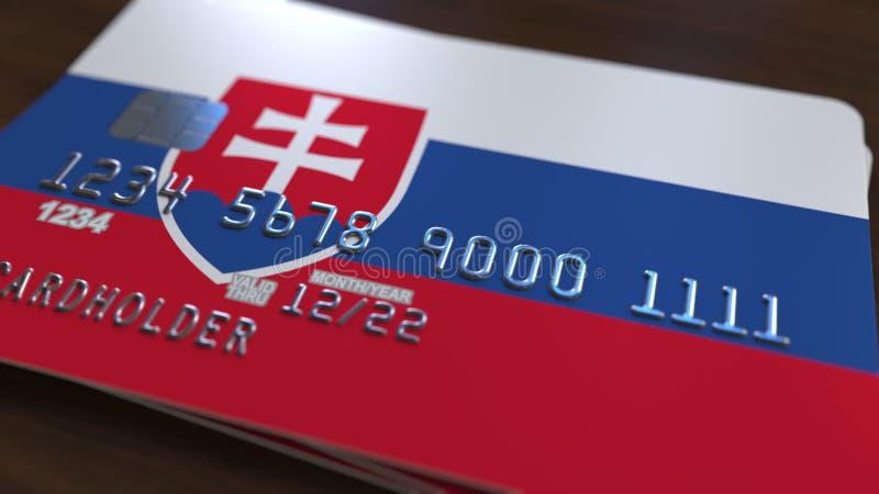 Tarjeta plástica que ofrece la bandera de Eslovaquia Representación relacionada al sistema bancaria nacional eslovaca 3D ilustración del vector
