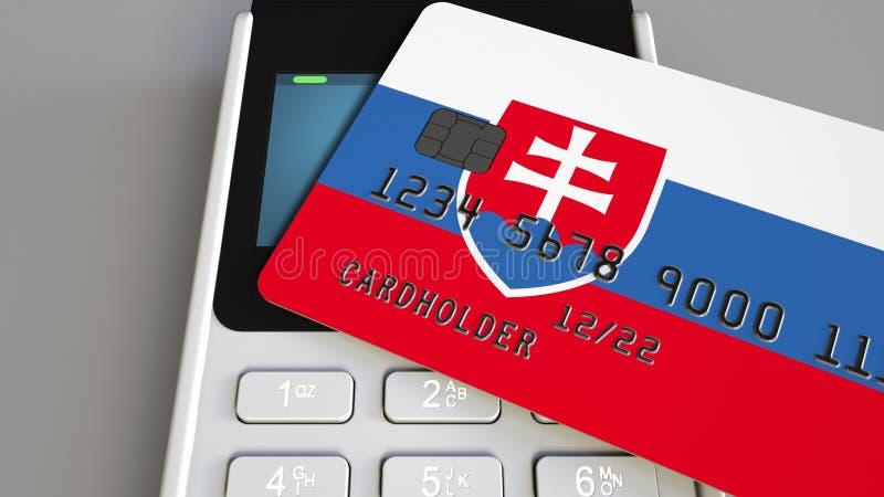 Tarjeta plástica que ofrece la bandera de Eslovaquia y del terminal del pago de la posición Sistema bancario eslovaco o represent ilustración del vector