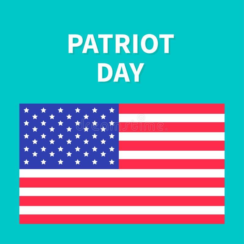 Tarjeta plana del diseño del fondo del día del patriota de la bandera americana ilustración del vector