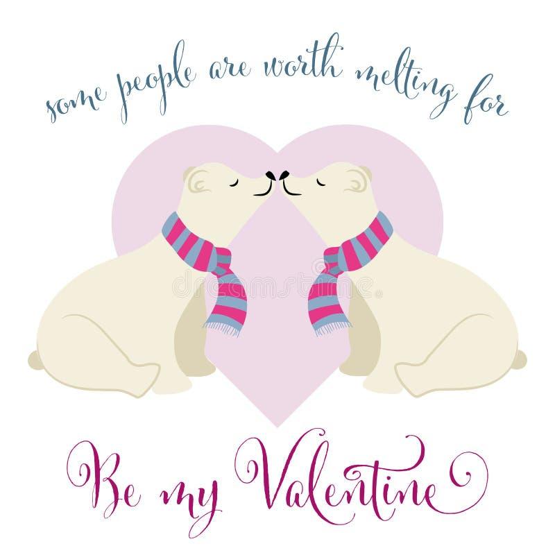 Tarjeta preciosa del día de tarjeta del día de San Valentín con los pares de los osos polares stock de ilustración