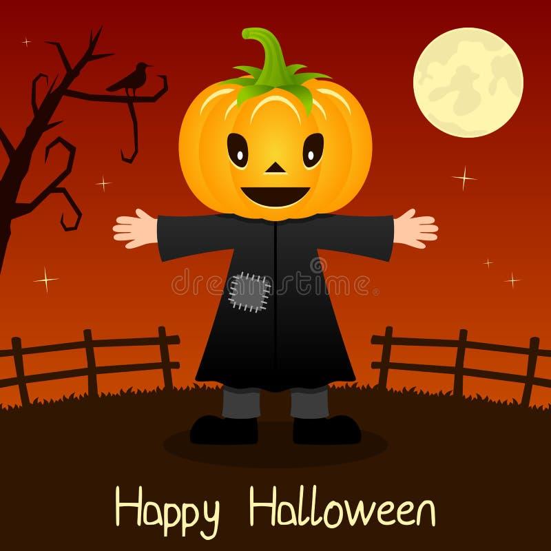 Tarjeta principal del feliz Halloween de la calabaza ilustración del vector