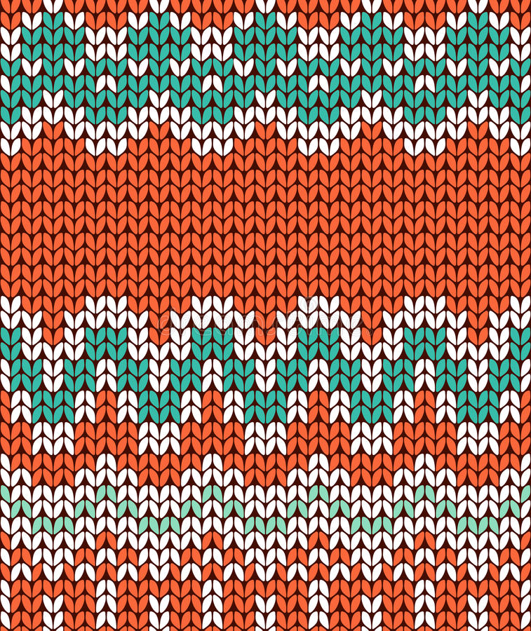 Tarjeta que hace punto verde y anaranjada Bandera inconsútil del ornamento del invierno stock de ilustración