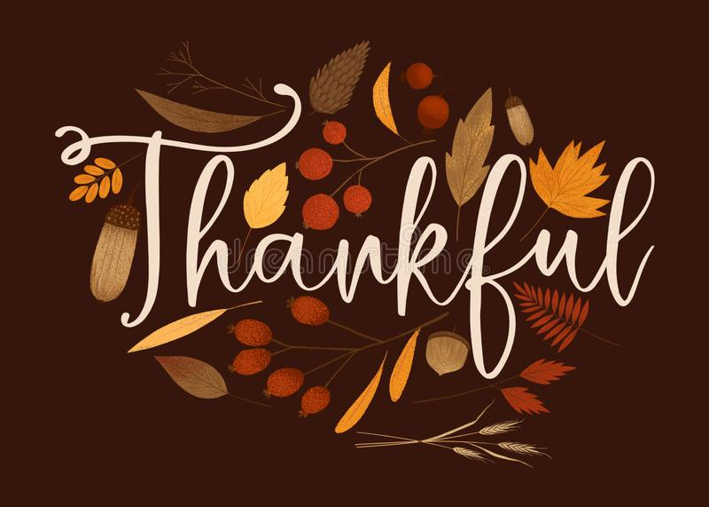 Tarjeta que pone letras agradecida del follaje de otoño ilustración del vector