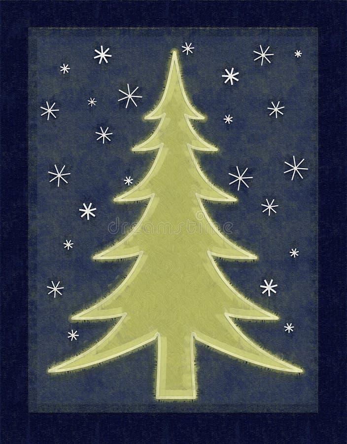 Tarjeta rústica del árbol de navidad stock de ilustración