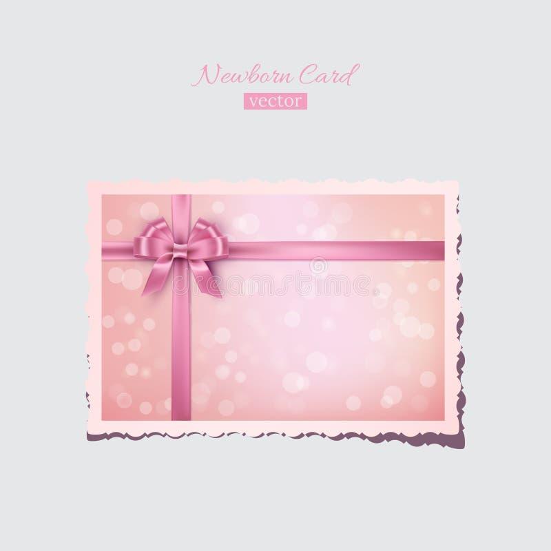 Tarjeta recién nacida del vintage o de la tarjeta del día de San Valentín rosada Postal recién nacida del saludo retro del vector ilustración del vector