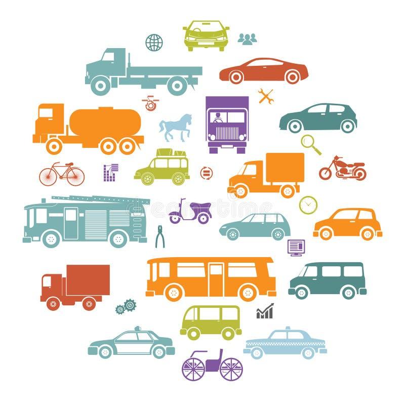 Tarjeta redonda con símbolos retros del transporte de los iconos de la silueta de los coches planos y de los vehículos   stock de ilustración