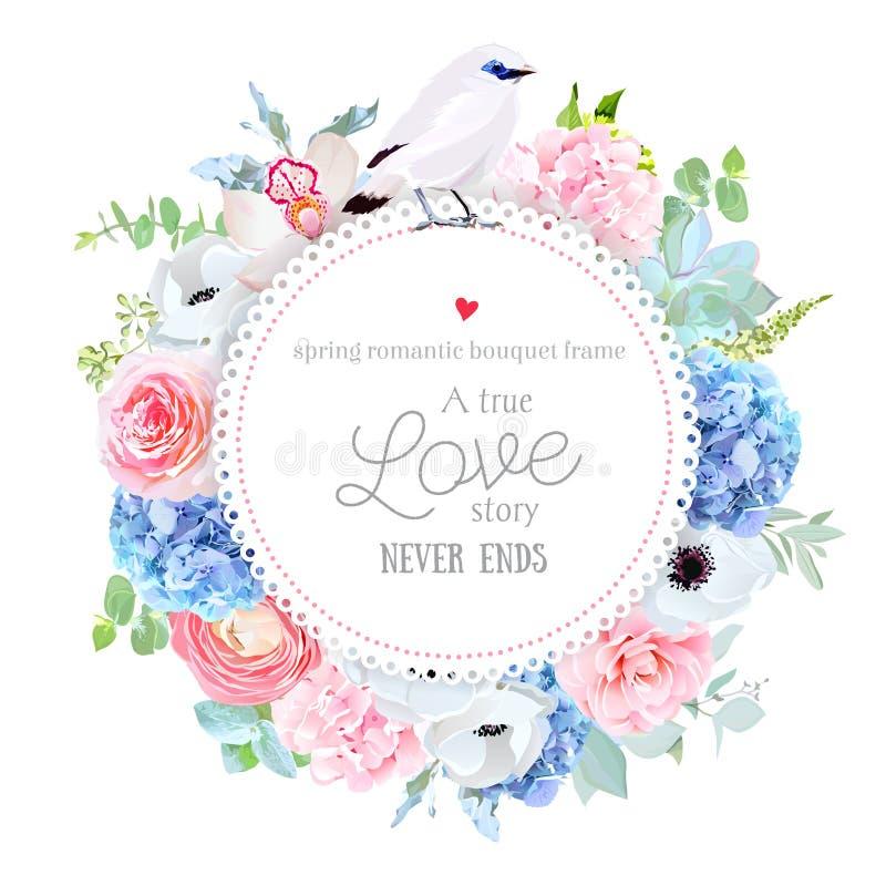 Tarjeta redonda del vector floral elegante con la hortensia rosada y azul libre illustration