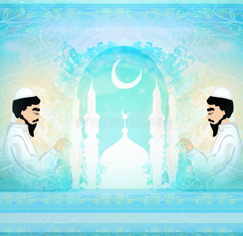 Tarjeta religiosa abstracta - hombre musulmán que ruega stock de ilustración