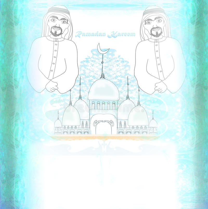 Tarjeta religiosa abstracta - hombre musulmán que ruega ilustración del vector