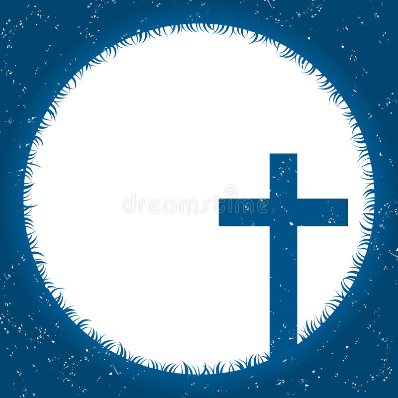 Tarjeta religiosa de la cruz y del claro de luna libre illustration