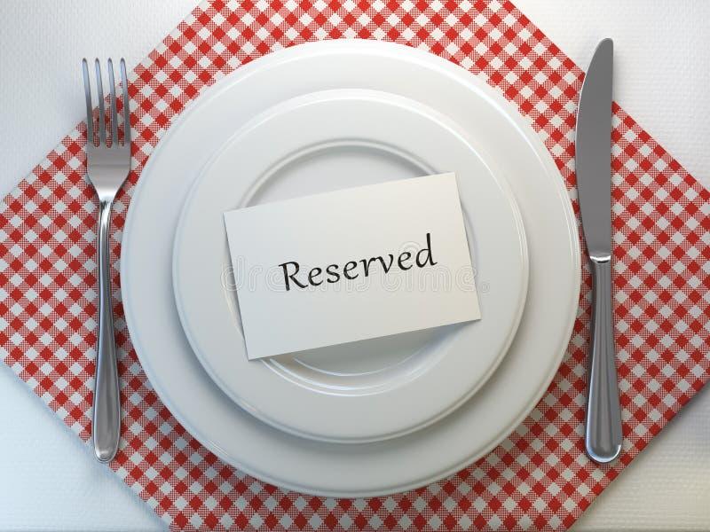 Tarjeta reservada en un ajuste de la tabla del restaurante Visión superior Mofa para arriba ilustración del vector