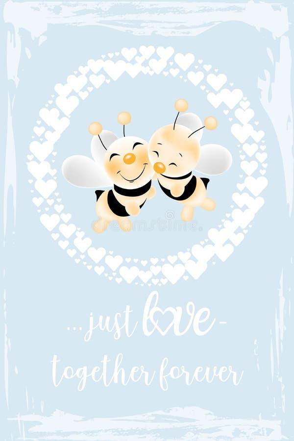 Tarjeta retra - abejas en amor ilustración del vector
